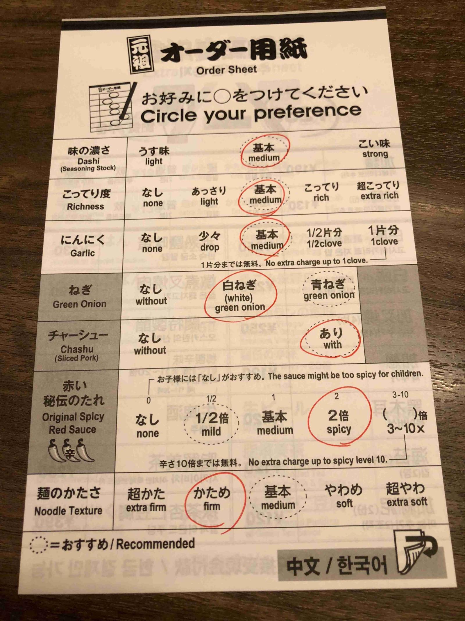 Order sheet for your ramen